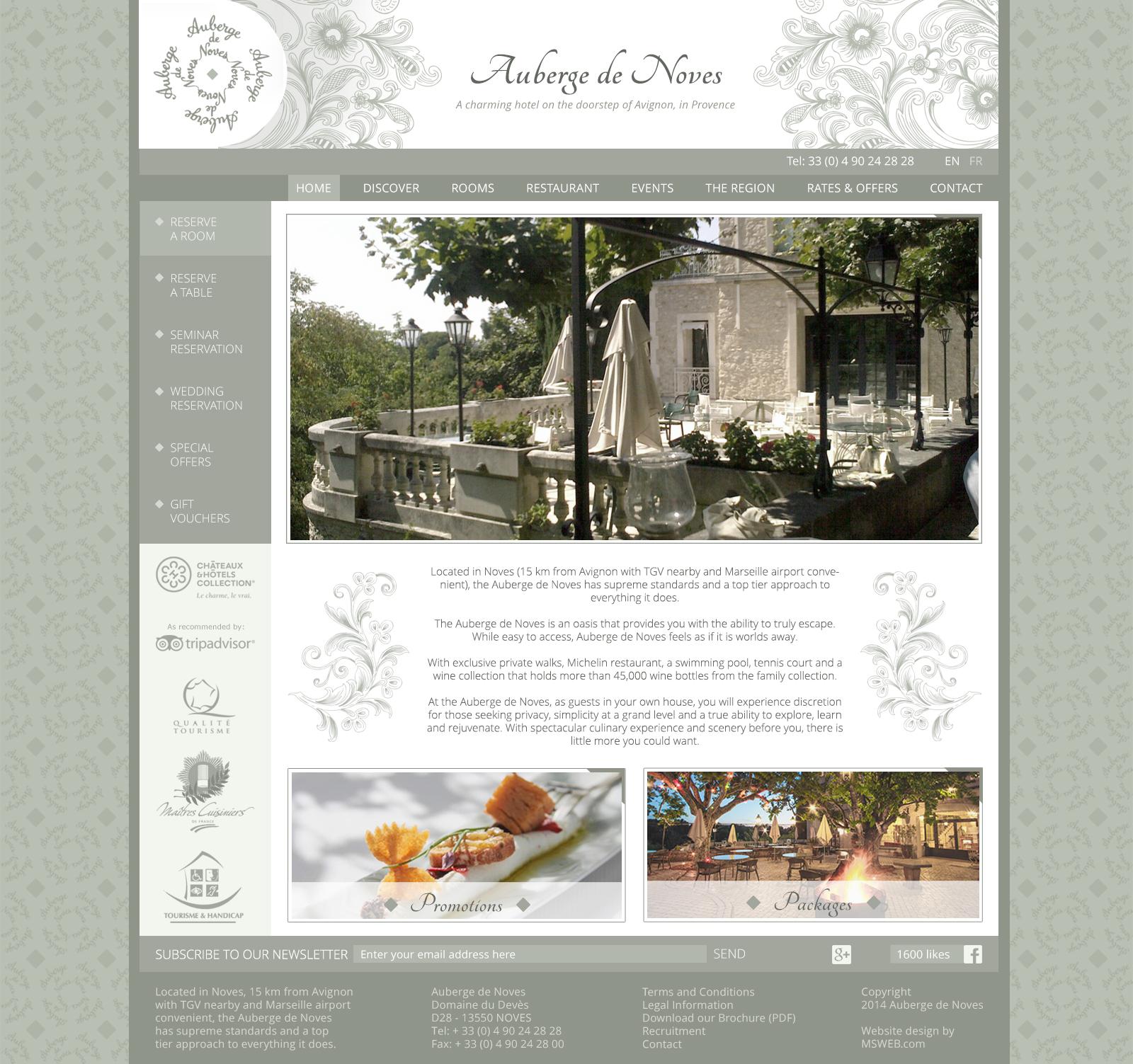 Auberge de Noves home page
