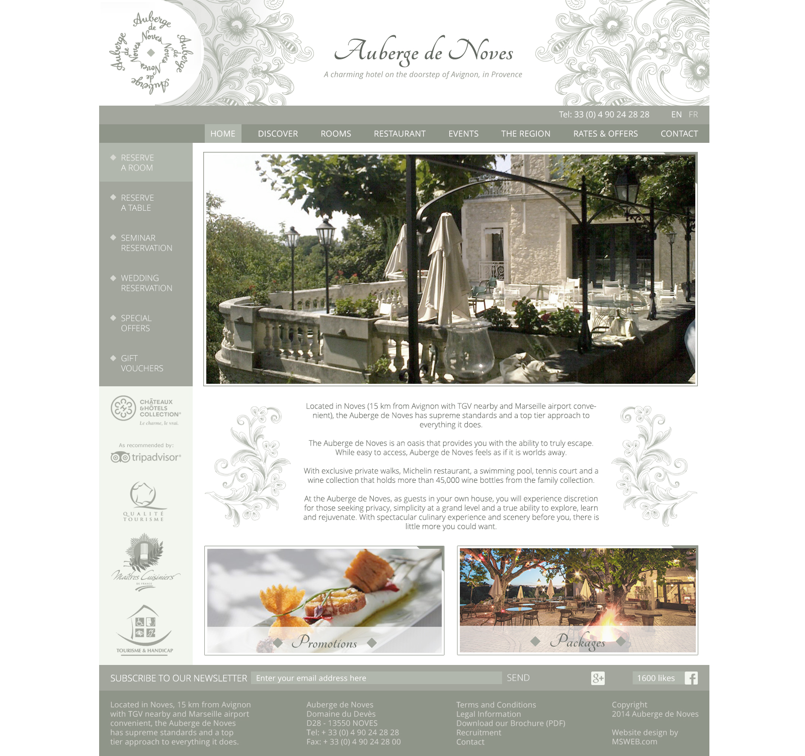 Auberge de Noves home page with white background
