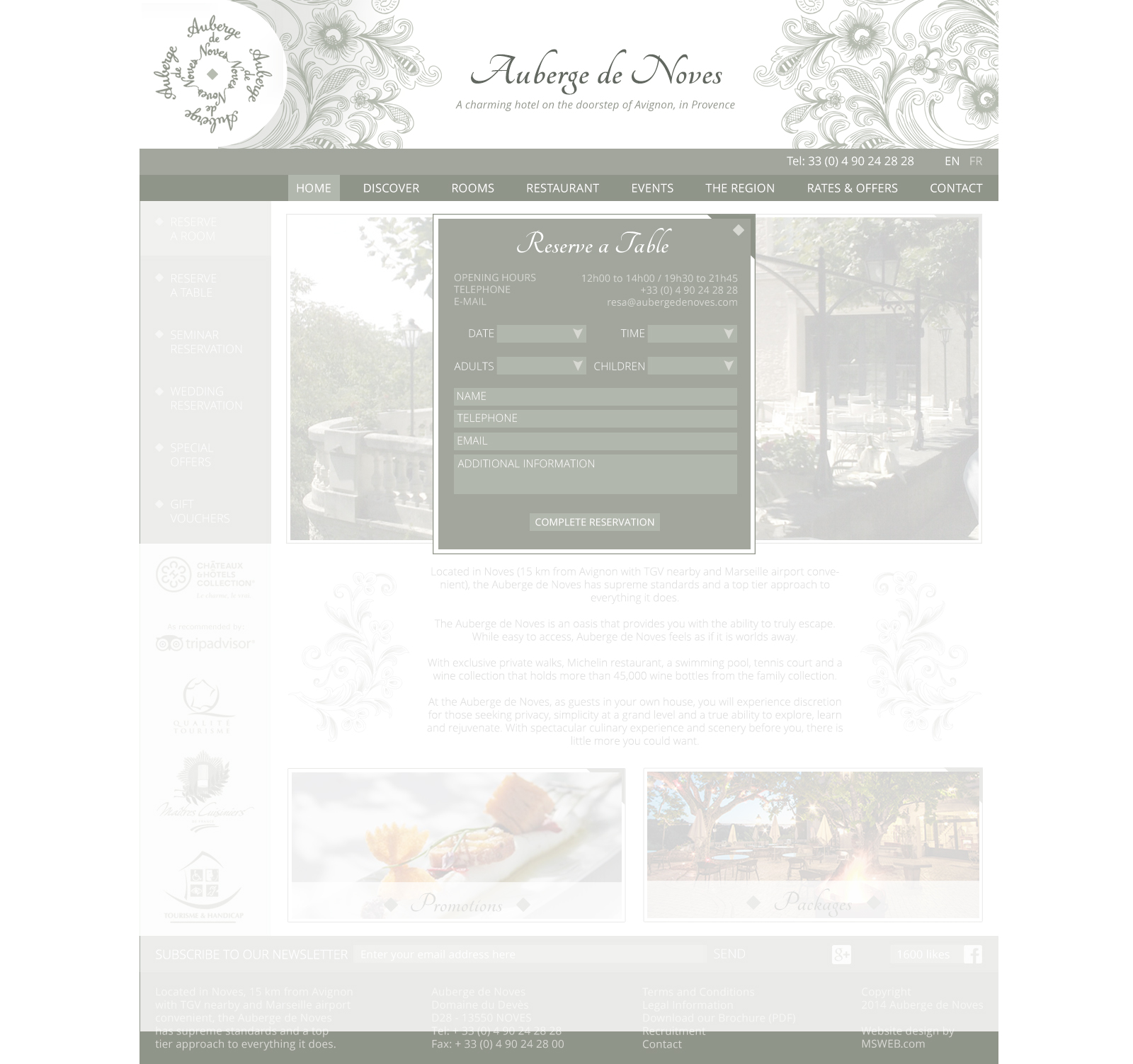 Auberge de Noves reservation popup with white background