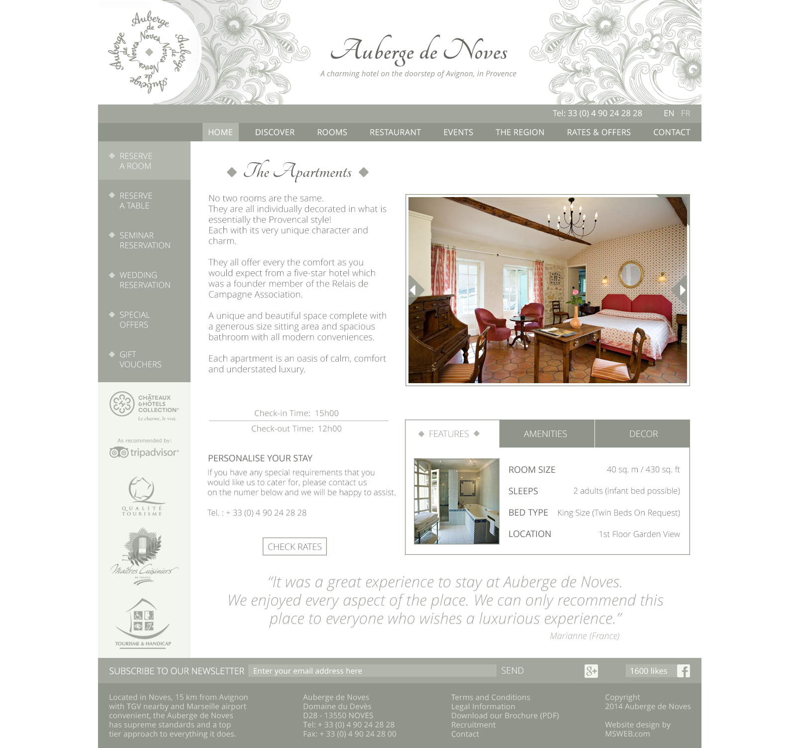 Auberge de Noves room page with white background